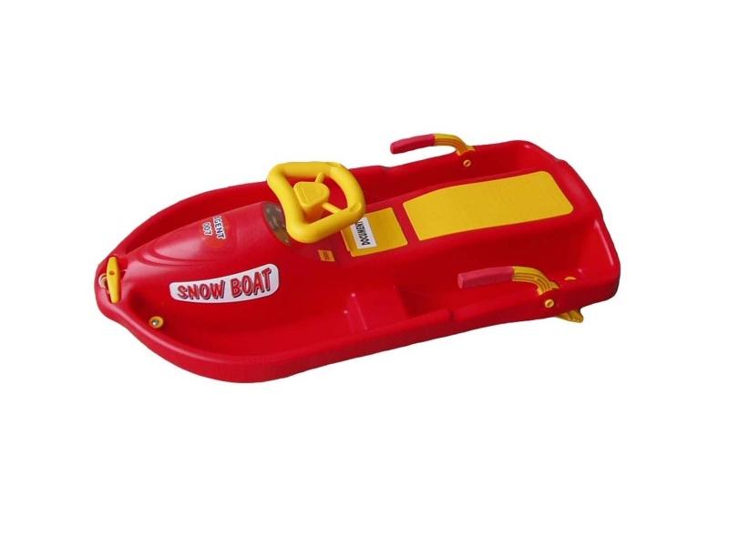 zima-bob plast.Snowboat s volantem, červený