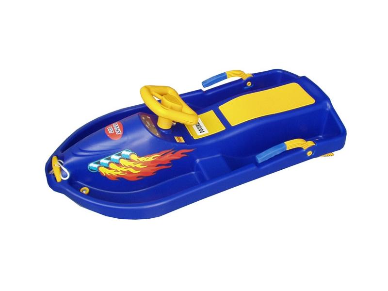 zima-bob plast.Snowboat s volantem, modrý