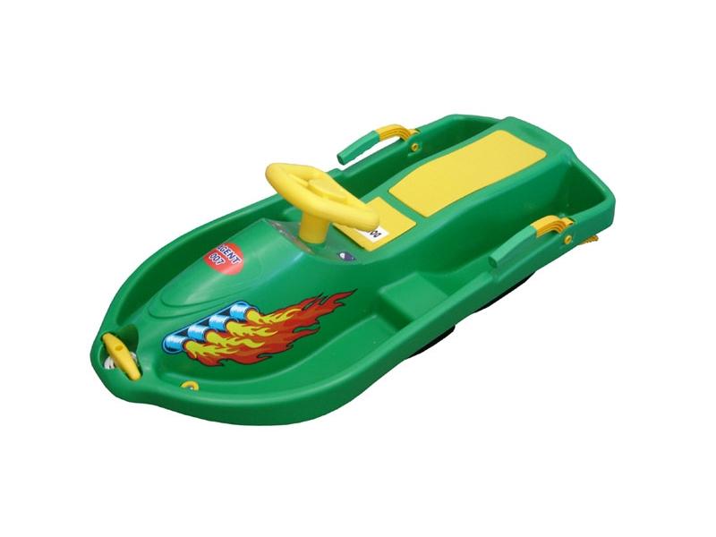 zima-bob plast.Snowboat s volantem, zelený