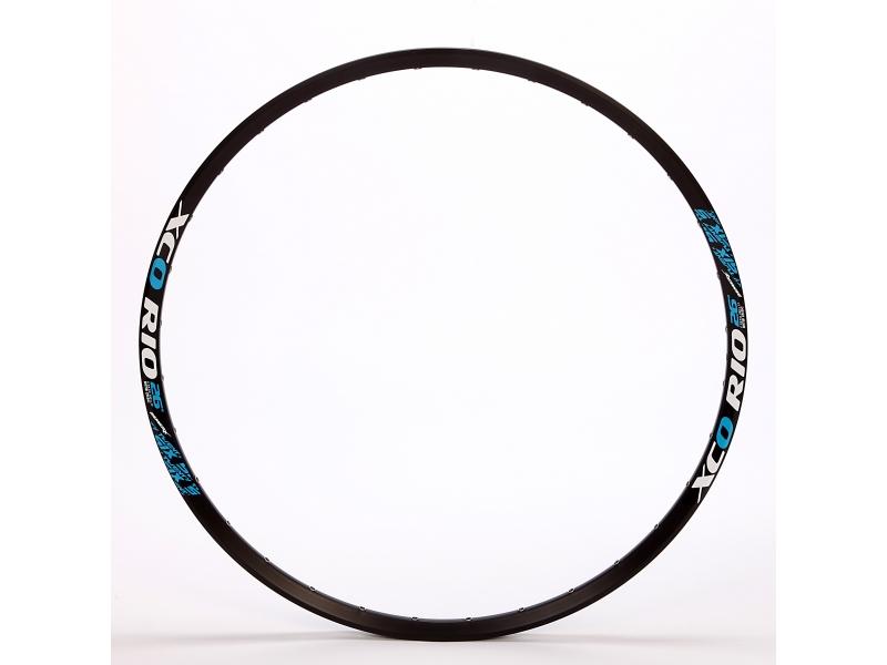 ráfek 584/32/17 XCO RIO černý, 1nýt, FV, modrý polep