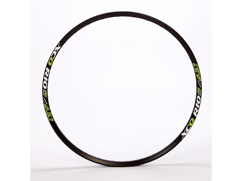 ráfek 584/32/17 XCO RIO černý, 1nýt, FV, zelený polep